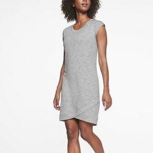 ATHLETA Criss Cross Gray Short Sleeve Dress M